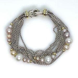 "David Yurman Multi strand Bracelet with Pearls 7"""